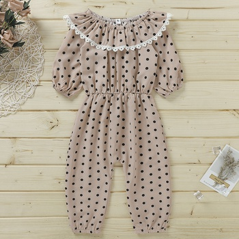 Baby / Toddler Polka Dots Flounced Collar Lace Jumpsuit