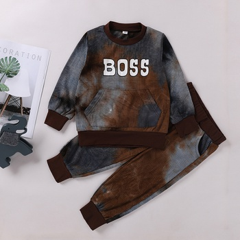 2-piece Baby / Toddler Tie-dye Letter Pullover and Pants Set