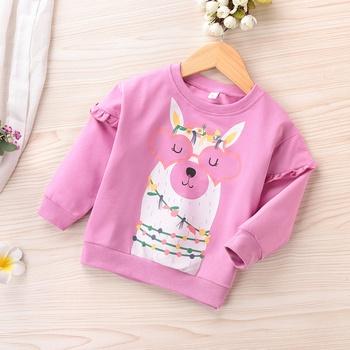 Baby / Toddler Girl Animal Floral Cartoon Pattern Ruffled Causal Pullover