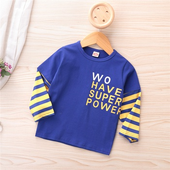 Baby / Toddler Letter Striped Splice Long-sleeve Tee