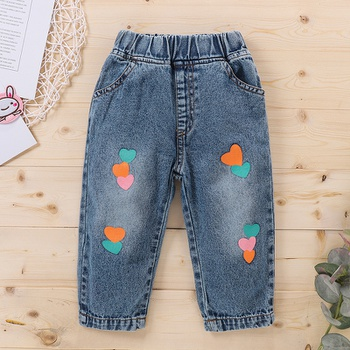 1pc Baby Girl casual Heart-shaped straight Jeans