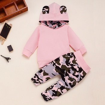 2-piece Baby Solid Hoodie and Camouflage Pants Set