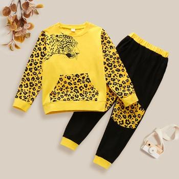 Trendy Leopard Print Longsleeves Tee and Pants Set
