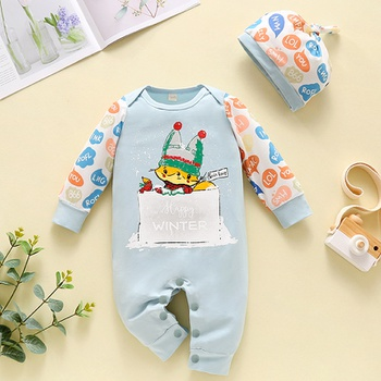 2-piece Baby Animal Fox Letter Jumpsuit and Hat Set