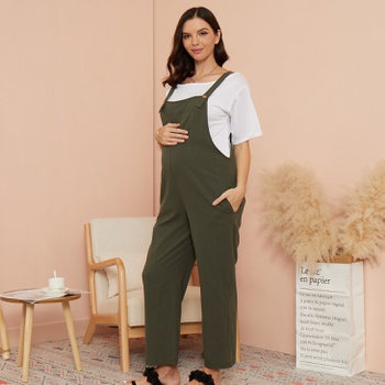 Maternity casual Plain Suspender pants