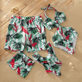 Cut-out Plants Print Matching Swimsuits