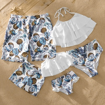 Mosaic Family Matching Coconut Ruffle Halter Swimsuits