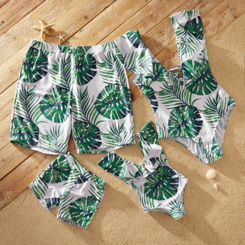 Ruffle-sleeve Tropical Plant Print Matching Swimsuits