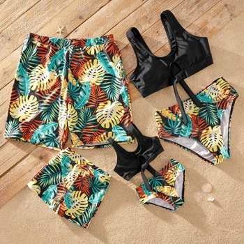 Knotted-Front Tropical Plant Matching Swimsuits