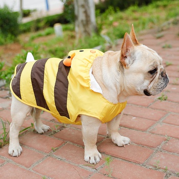 Pet Raincoat, Dog Waterproof Hoodies Rain Jacket Bee Lightweight Rain Coat for Corgi Tidy and Small Medium Dog