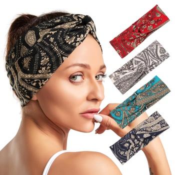 Women Cotton Elastic Bohemian Turban Headbands