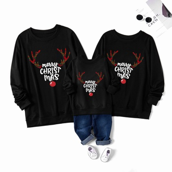 Merry Christmas Deer Series Cotton Family Matching Sweatshirts