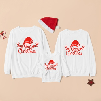Merry Christmas Series Letter Print White Cotton Family Matching Sweatshirts