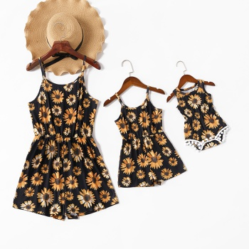 Sunflower Print Tank Rompers for Mommy and Me