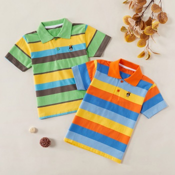 Fashionable Striped Embroidered Polo Shirts