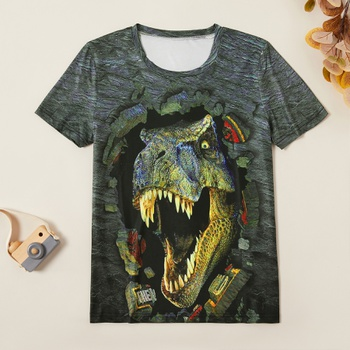 Stylish 3D Dinosaur Print Tee