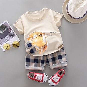 Baby Boy Trendy Cartoon Lion Top and Plaid Shorts Set (No Shoes,No Hat )