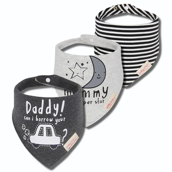 3 Pcs Cotton Cartoon Moon Star Baby Bibs Triangle Slabber Absorbent Cloth Toddler Bips