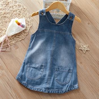 Baby / Toddler Girl Causal Sleeveless Denim Suspender Skirt