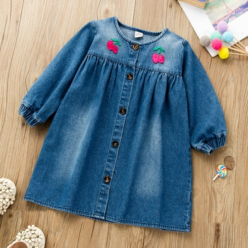 Baby / Toddler Cherry Long-sleeve Denim Dress