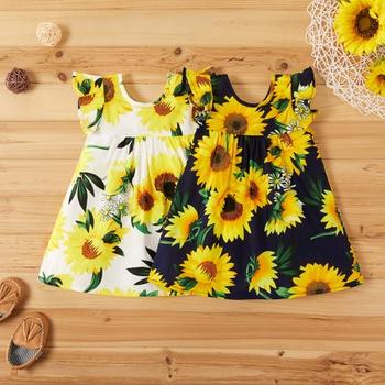 Baby Comfy Ruffled-sleeve Sunflower Print Dress