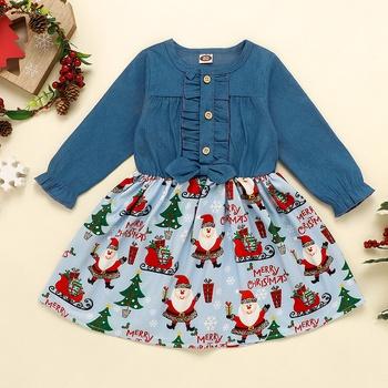 Baby Girl Christmas Denim Dress