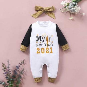 2-piece Baby Letter MY 1ST NEW YEAR'S 2021 Jumpsuit and Headband Set