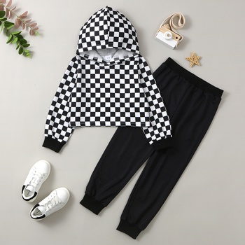 Trendy Plaid Allover Hooded Sweatshirt and Solid Pants Set