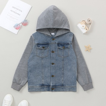 Fashionable Kid Boy Denim Hoodie Coat