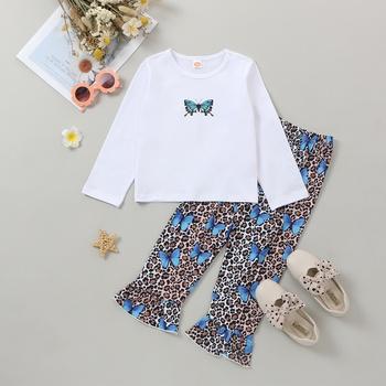 Toddler Girl Butterfly Top & Leopard Pants Set