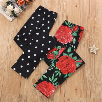 Kid Girl Floral & Polka dots Leggings