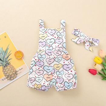 2-piece Baby Love Heart Strappy Bodysuit and Headband Set