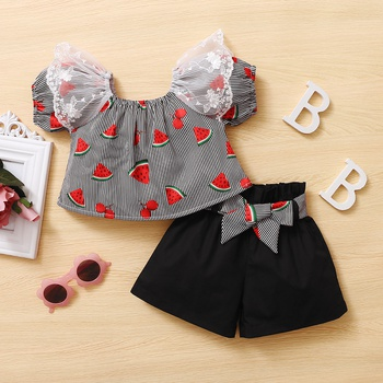 2pcs Baby Girl Short-sleeve Cotton Sweet Fruit Baby's Sets