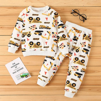 Baby / Toddler Car Letter Pattern  Pullover and Pants Set
