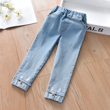 Baby / Toddler Rabbit Embroidered Denim Pants