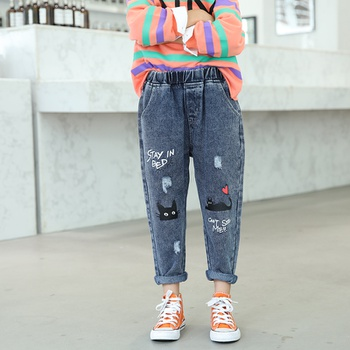 Stylish Cat Print Straight Cut Jeans