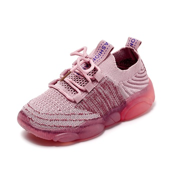 Toddler / Kid Breathable Knitted Lace-up Sneakers