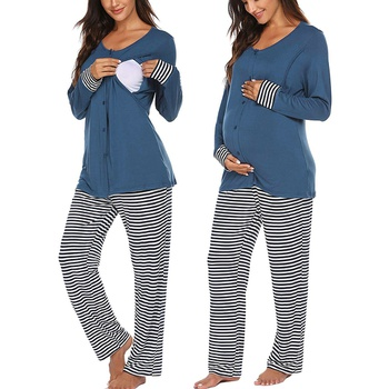 Casual Striped Long-sleeve Nursing Pajamas Set