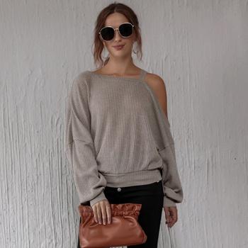Skew collar Grey Plain long sleeve casual T-shirt