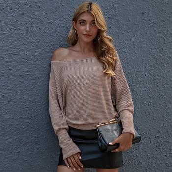 Skew collar Plain long sleeve Sexy Decorative shirt
