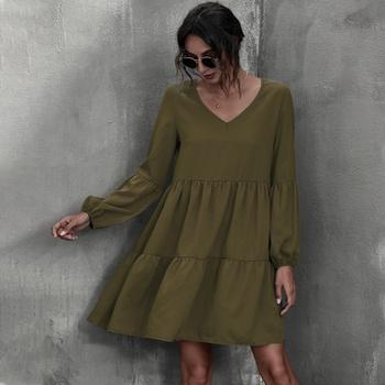 V-neck Elastic waistband Drop Shoulder Tunic Midi Dress
