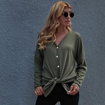 V-neck Dark Green Plain long sleeve casual Shirt