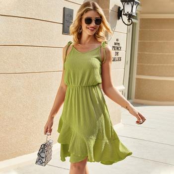 Halter Thin shoulder strap X Midi Dress
