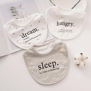 3-pieces Letter Cartoon Print Softness Cotton Baby Absorbent Bibs