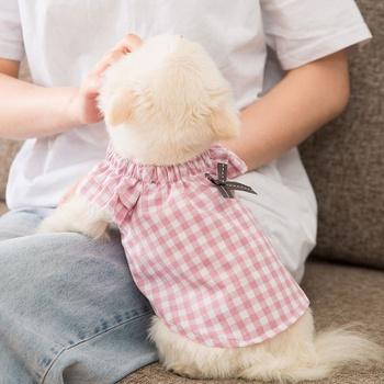 Pet Summer Skirt Plaid Baby Shirt