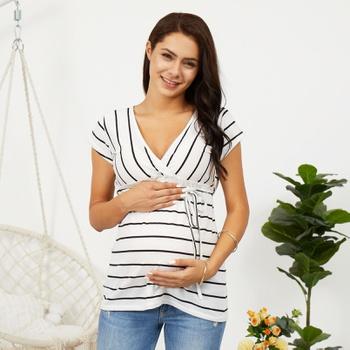 Casual Striped Short-sleeve Maternity Tee