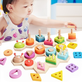 HOT SALE Baby Toys Colorful Wooden Blocks Toddler Kids Early Educational Toys