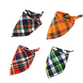 Scottish style cotton flannel plaid saliva towel pet triangle scarf