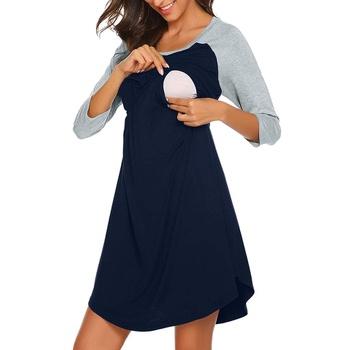 Maternity Round collar Color Block Color block Normal X Long-sleeve Nursing Dress