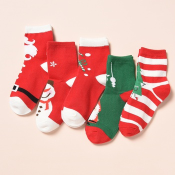 5-pack Kid Christmas Knitted Adorable Middle Socks
